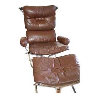 Ingmar Relling for Westnofa Chrome and Leather Chair & Ottoman-A Pair For Sale
