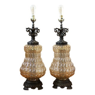 Mid-Century Crystal Lamps - Set of 2