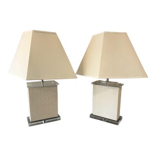 1980s Lucite and Travertine Lamps - a Pair