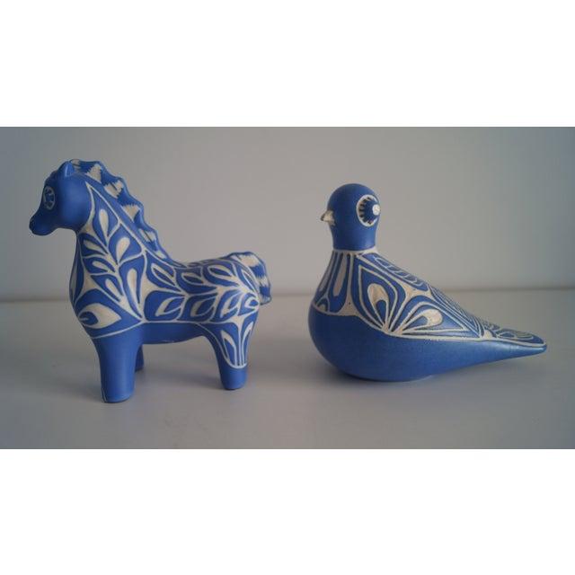 Folk Art Pablo Padro Mid-Century Modern Blue Animal Decorations - a Pair For Sale - Image 3 of 5