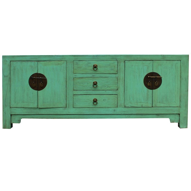 Distressed Teal Blue Wood Pattern Low Console Table Cabinet For Sale In San Francisco - Image 6 of 9