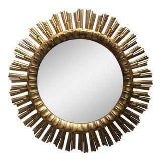 Hollywood Regency Gilded Sunburst Mirror For Sale