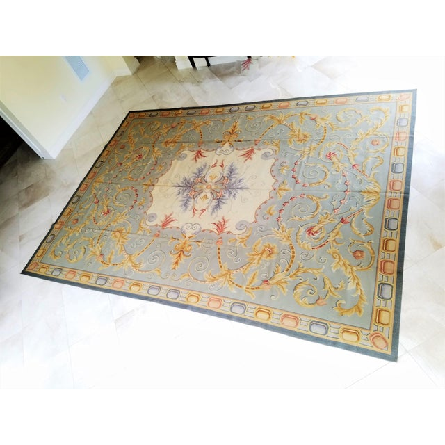 Hollywood Regency Handmade Blue Gray, Ivory, Gold and Teracotta Aubusson Style Area Rug - 8′10″ × 12′2″ For Sale - Image 3 of 8