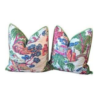 Chinoiserie Style Asian Scenic Thibaut Fabric Pillow Covers- A Pair For Sale