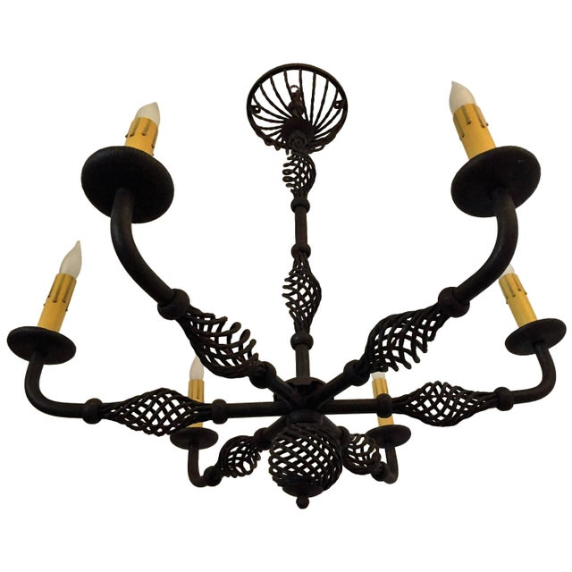 French Moderne 1940s Iron Chandelier For Sale - Image 11 of 11
