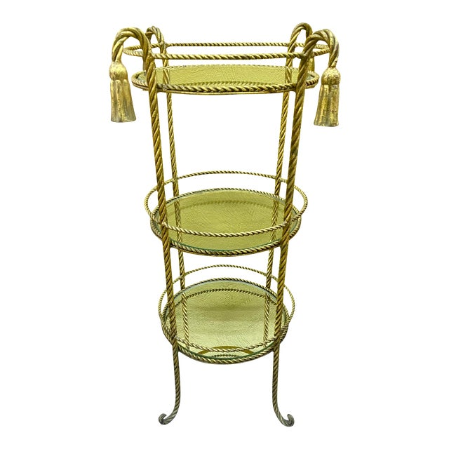 Vintage Hollywood Regency 3 Tiered Rope and Tassel Table For Sale