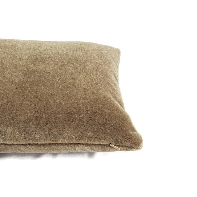 "Maharam Mohair Supreme in Stonehenge Lumbar Pillow Cover - 12"" X 20"" Solid Stone Brown Mohair Velvet Rectangle Cushion Case For Sale - Image 4 of 6"
