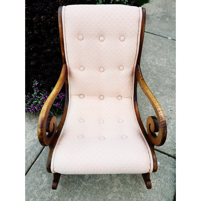 1940's French Rocking Chair - Wood Curved Arms - Image 2 of 8