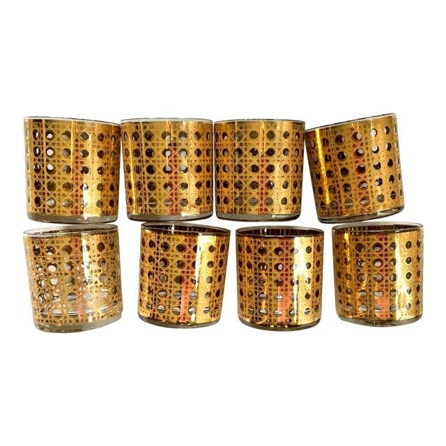 Gold Gilt Cane Patterned Motif Cocktail Glasses - Set of 8 For Sale