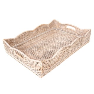 Artifacts Rattan Scallop Collection Rectangular Tray For Sale