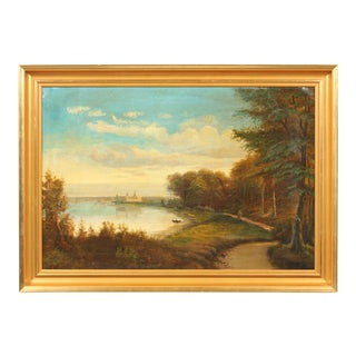 Early 20th-C. Oil Painting of a Forest Landscape by the Water For Sale