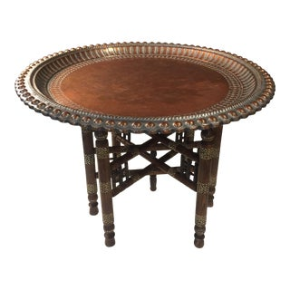 Antique Moroccan-Middle Eastern Copper and Wood Tea Tray Table For Sale