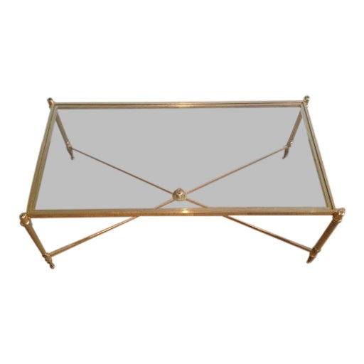 Rectangular Mid Century Brass Coffee Table With Clear Glass Top & Cross Stretcher For Sale