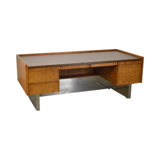 Milo Baughman Mid Century Modern Burl Wood & Chrome Large Executive Desk