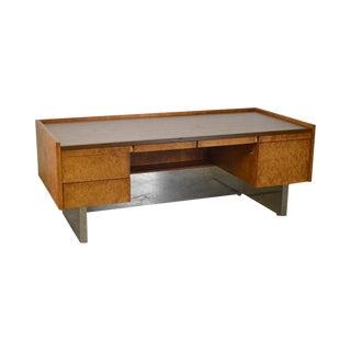 Milo Baughman Style Mid Century Modern Burl Wood & Chrome Large Executive Desk For Sale