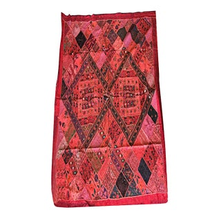 Mogul Indian Tapestry Red Banjara Patchwork Bohemian Throw / Wall Hanging For Sale