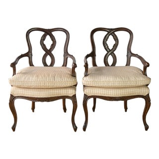 19th Century Antique French Fauteuil Arm Chairs- A Pair For Sale