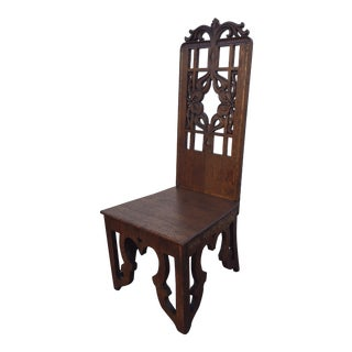 Antique Gothic Carved Oak Wood Chair
