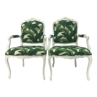1950s Vintage French Carved Armchairs in Lacquer & New Upholstery, a Pair For Sale