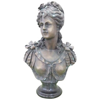 20th Century Italian Sculpture in Bronze Portrait of Young Girl For Sale