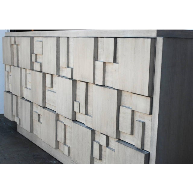 Brutalist Brutalist 9-Drawer Dresser Credenza by Lane in a Custom White Finish For Sale - Image 3 of 6