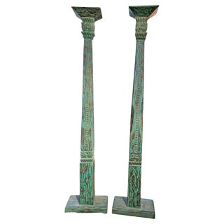Early 20th Century Indonesian Turquoise Hand-Carved Teak Columns - a Pair For Sale