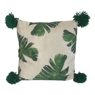 Boho Palm Leaf Pillow With Green Pom Poms For Sale