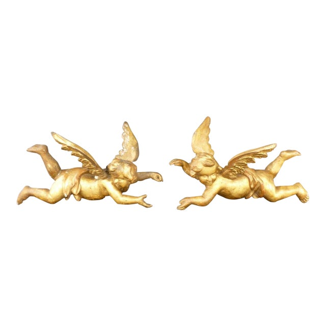19th Century Baroque Gilt Angels With Wings - a Pair For Sale