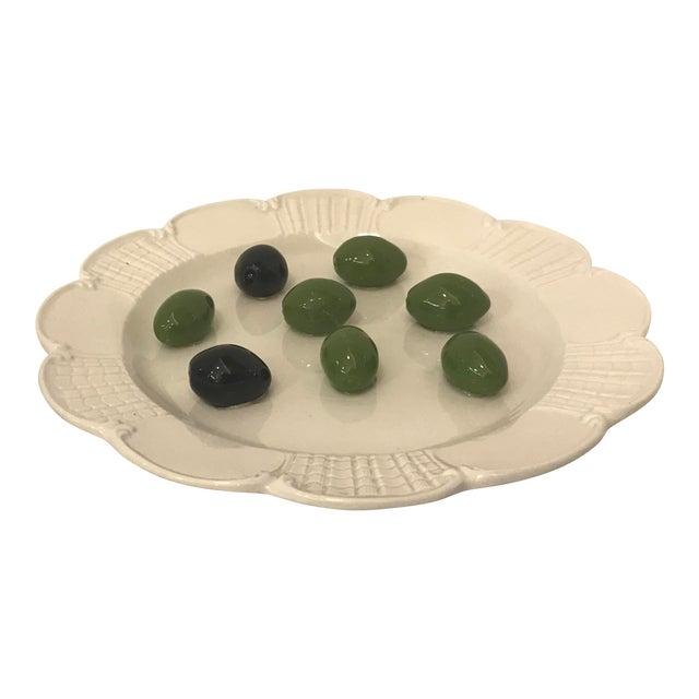 Italian Este Trompe L'Oeil Olive Plate For Sale