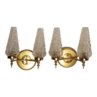 Modernist French Brass Sconces - a Pair For Sale