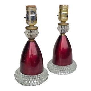 Antique Victorian Cranberry Boudoir Glass Hobnail Lamps - a Pair For Sale