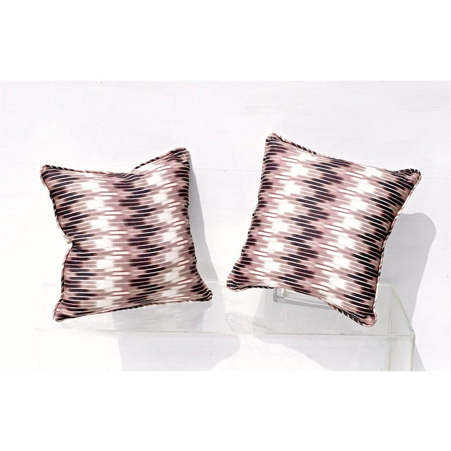 Art Deco Ikat Pillows in Christopher Farr Cloth - A Pair For Sale - Image 3 of 7