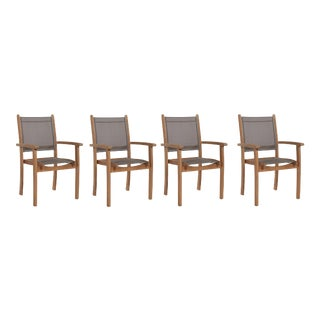Pearl Stacking Teak Outdoor Dining Armchair in Taupe (Set of 4) For Sale