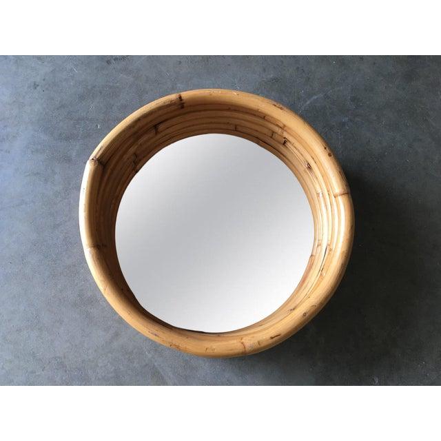 "Six-Strand Round Small 21"" Decorative Porthole Rattan Mirror For Sale - Image 4 of 6"
