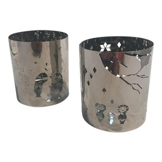 2010s Contemporary Georg Jensen Silver Holiday Tea Light Lanterns - a Pair