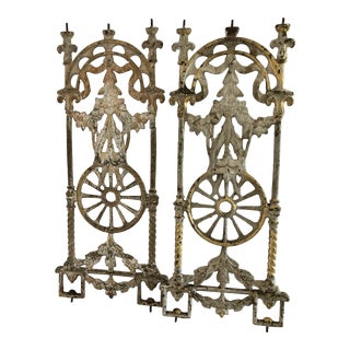 1920s Antique Gilt Iron Window Guards- a Pair For Sale