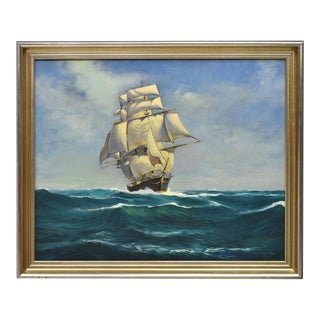 "Otho Blake ""Ships Cutting the Waves"" Oil Painting"