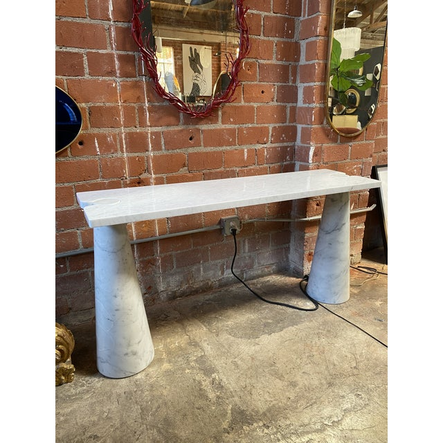 Mid-Century Modern 1971 Angelo Mangiarotti Eros White Carrara Marble Console Table For Sale - Image 3 of 10