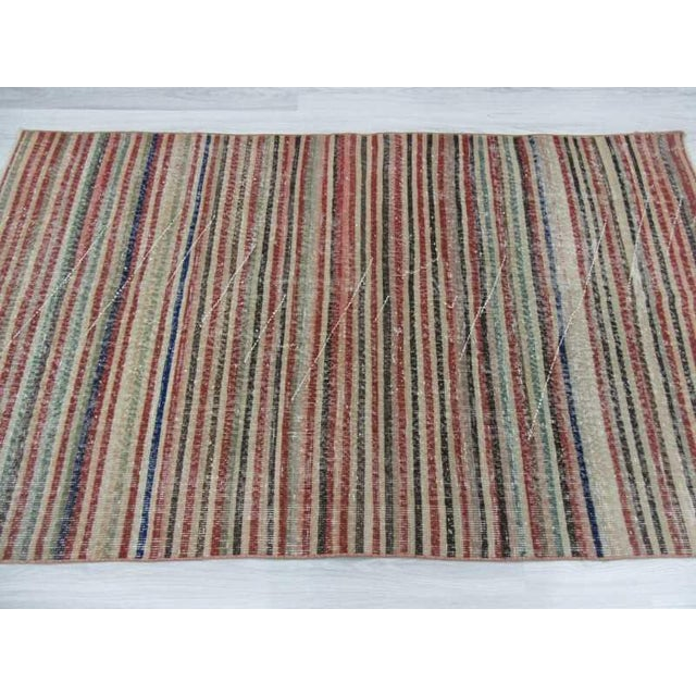 Vintage Turkish Hand-Knotted Striped Area Rug - 3′10″ × 6′7″ - Image 4 of 6