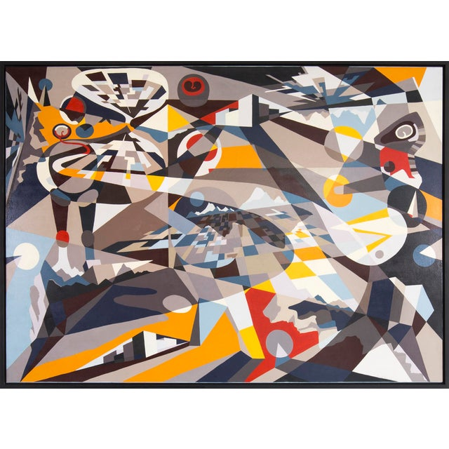 This large scale painting by Hannah Perry Saucier is full of geometric dimension and movement. Work is framed....