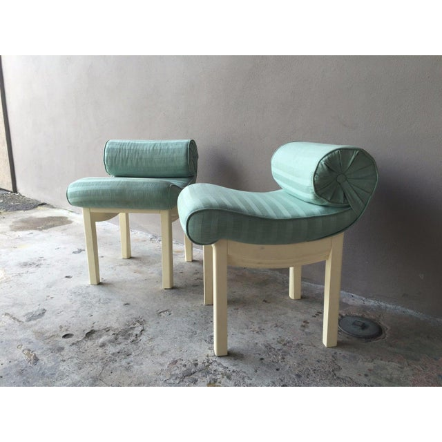 1950s Hollywood Regency Sensual Curvaceous Vanity Stools - a Pair For Sale - Image 4 of 9