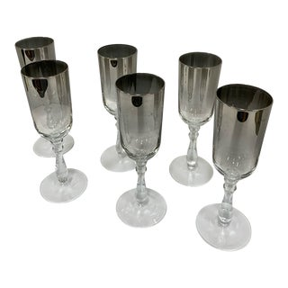 1960s Silver Ombre Glass Flutes - Set of 6 For Sale