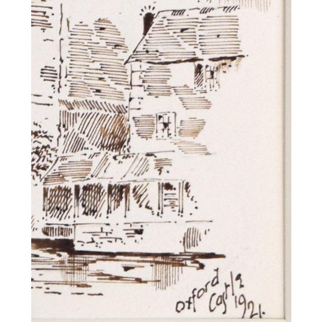 """Antique English Pen & Ink Drawing """"Oxford Castle"""" of St George's Tower For Sale In New York - Image 6 of 7"""