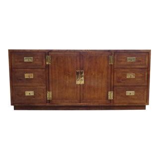 Vintage Henredon Oak Campaign Server Buffet Credenza For Sale