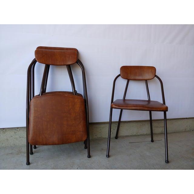 Super Vintage Cosco Brown Vinyl Metal Folding Chairs Set Of 4 Creativecarmelina Interior Chair Design Creativecarmelinacom