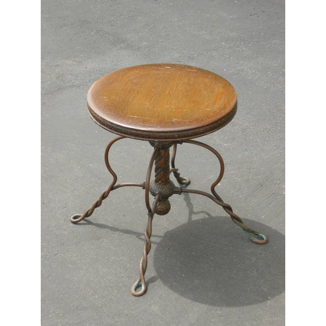 Mediterranean Vintage 1950's Spanish Style Ornate Wrought Iron Swivel Stool For Sale - Image 3 of 13