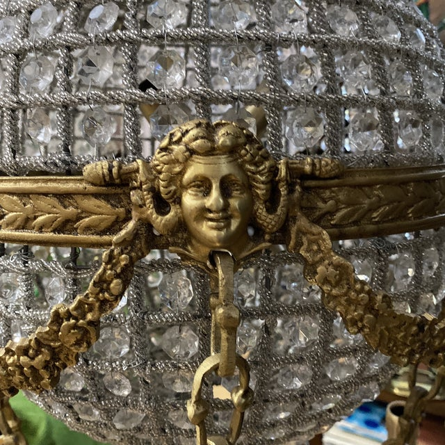 Metal Crystal and Brass Hot Air Balloon Chandelier** For Sale - Image 7 of 11