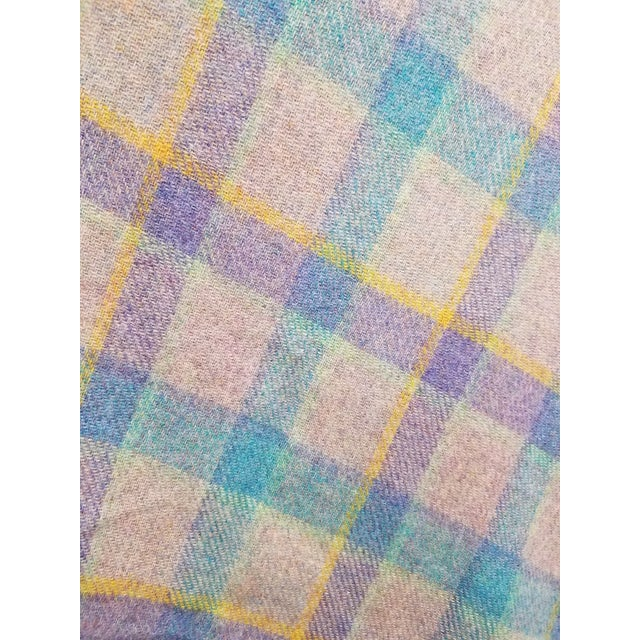 Gray Wool Throw Blue and Purple Stripes on a Gray Background - Made in England For Sale - Image 8 of 11
