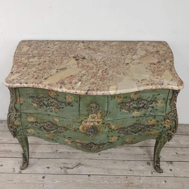 19th Century French Louis XV Painted Marble Top Commode For Sale - Image 4 of 13