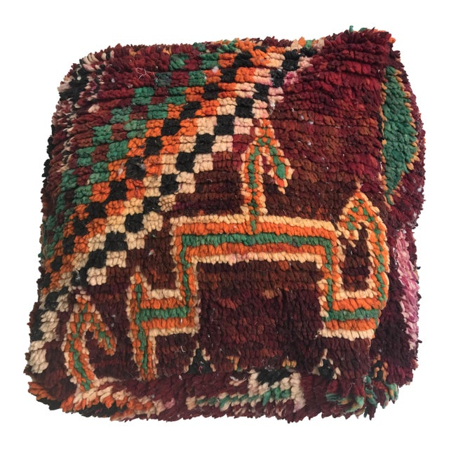 Vintage Moroccan Wool Pouf - Image 1 of 10